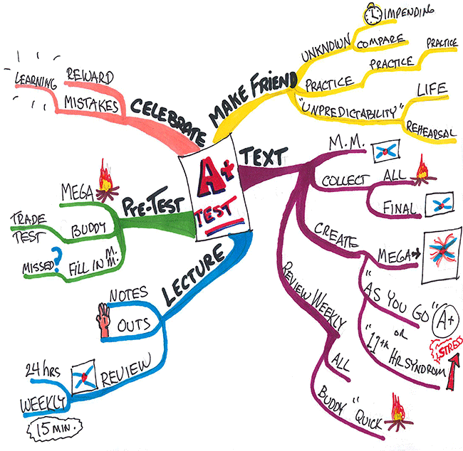 Mind map on taking a test